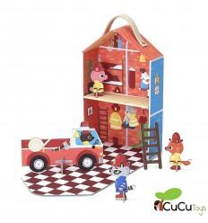 Krooom - parque de bomberos, juguete de cartón reciclado