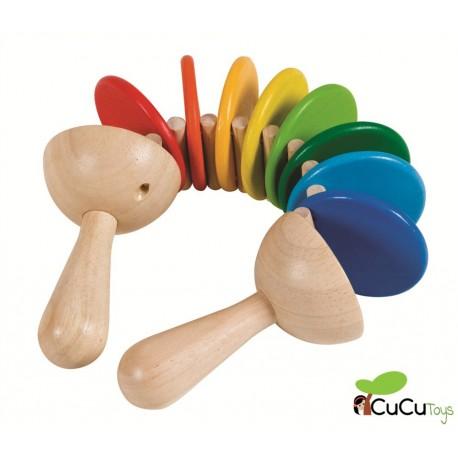PlanToys - Sonajero de madera Clatter, Juguete Musical