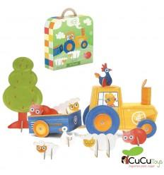 Krooom - Puzzle 3D, Vida en la granja (Puzzle y escenario de juego) juguete de cartón reciclado