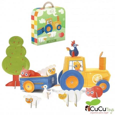 Krooom - Vida en la granja 3D (Puzzle y escenario de juego), juguete de cartón reciclado
