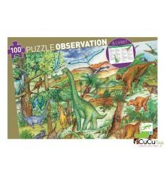 Djeco - Dinosaurios, puzzle + libro educativo