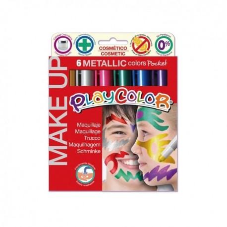 Playcolor - Maquillaje Pocket 6 Colores Metalizados