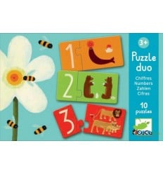 Djeco - Dúo cifras, puzzle de 2 piezas