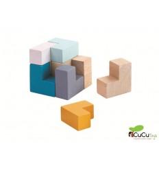 Plantoys - Lata de Cubo en 3D, puzzle de madera