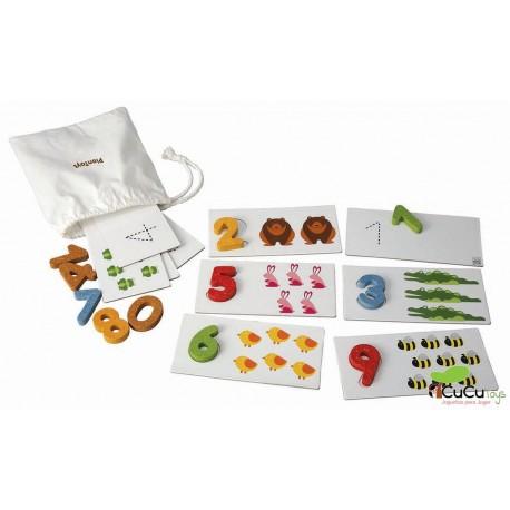 Plantoys - Números de madera del 1 al 10, juguete educativo
