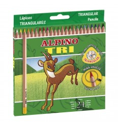 Alpino - Estuche Alpino TRI, 24 lápices triangulares de colores