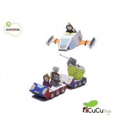 Kroom - Misión espacial de la policia galactica, juguete de cartón reciclado