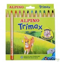 Alpino - Estuche TriMAX 12 lápices triangulares de colores