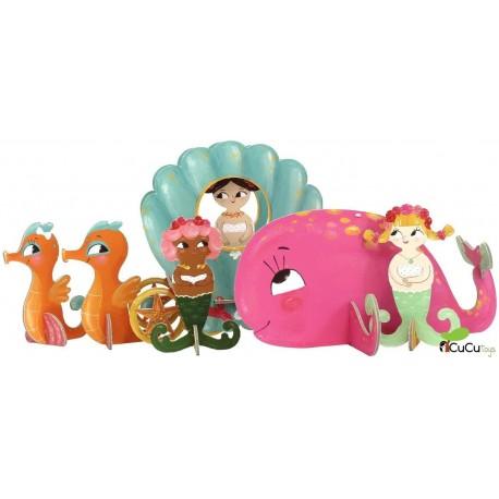 Kroom - Puzzle 3D, Sirenas del fondo del mar (Puzzle y escenario de juego), juguete de cartón reciclado