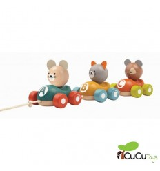Plantoys - Tren animal, juguete de madera