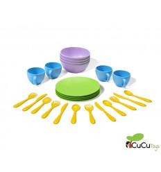 Greentoys - Set de platos, vasos y cubiertos ecológicos