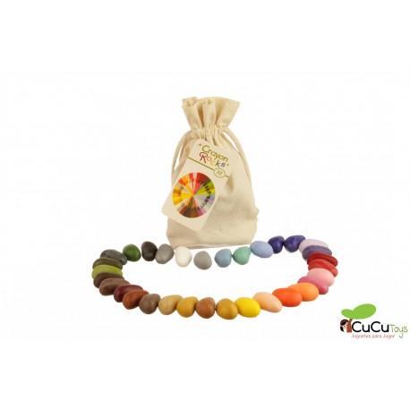 Crayon Rocks - Ceras para pintar (32 piedras), con bolsa algodón
