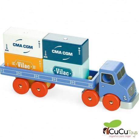 Vilac - Vilacity camión portacontenedores magnético, juguete de madera
