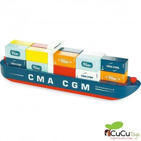 Vilac - Vilacity barco portacontenedores magnético, juguete de madera