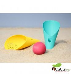 Quut - Cuppi - Pala, colador y pelota azul, juguete de playa