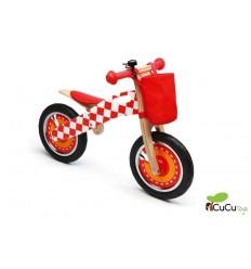 Scratch - Bicicleta de madera sin pedales, Cuadros rojos