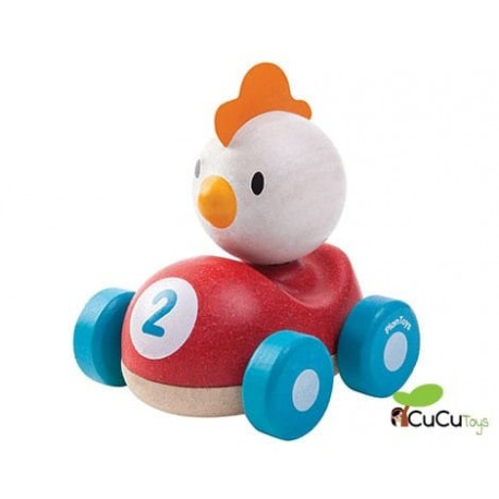 Plantoys - Coche de carreras Pollito Piloto, juguete de madera